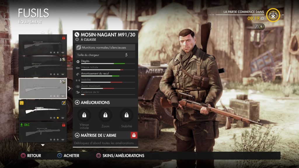 Sniper Elite 4 personnage armes attributs