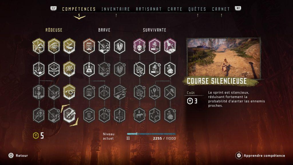 Horizon Zero Dawn l'arbre de competences ameliorations aloy ps4 guerrilla games
