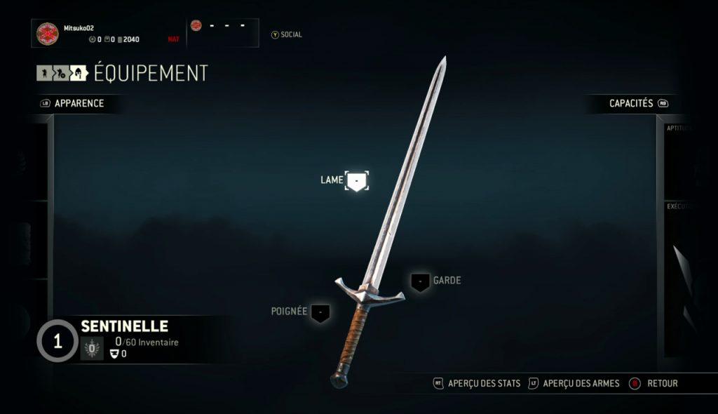 Upgrade de l'épée de la sentinelle dans for honor