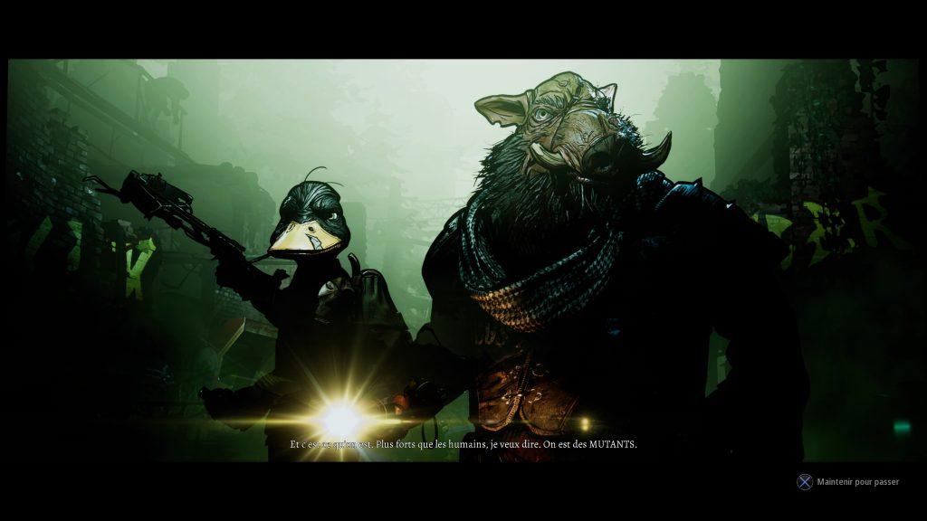 Nos héros sont des mutants, pour certains aux allures animales. Ce canard et ce phacochère ne manquent pas de charisme, et ont une dégaine bien badass.