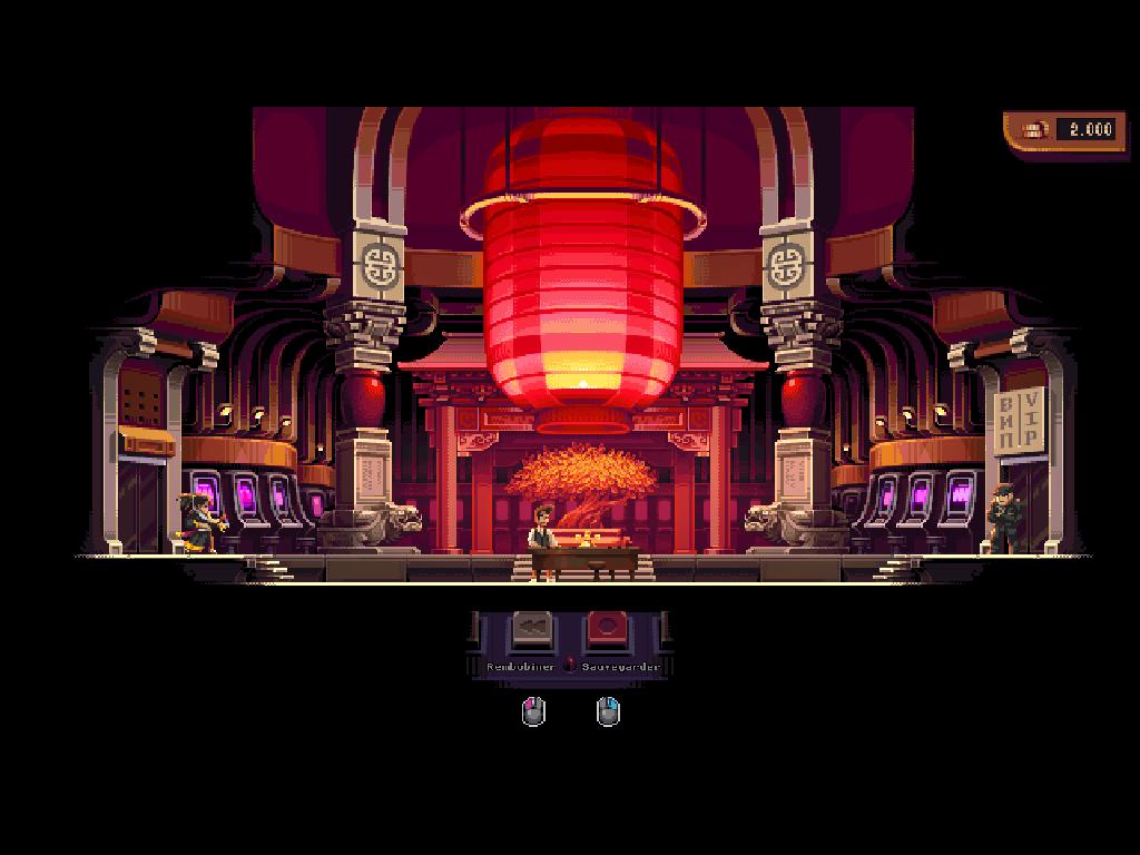 Ce passage dans le casino consiste simplement à parier dans un jeu de roulette simplifié. Vous devrez amasser suffisamment pour que le gos bras à droite de l'écran vous laisse accéder au carré VIP.